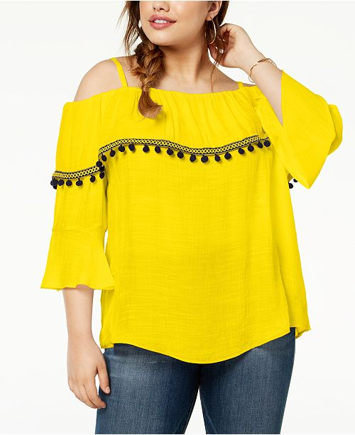 2357eccfc4cdc BCX Trendy Plus Size Pom-Pom Off-The-Shoulder Top   Reviews - Tops ...