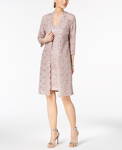 Alex Evenings Sequined Lace Dress & Duster Jacket