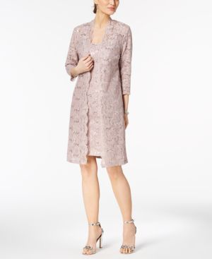Alex Evenings Sequined Lace Dress & Duster Jacket 5765030
