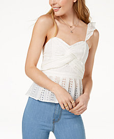 ASTR The Label Cotton One-Shoulder Eyelet Top