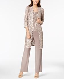 R & M Richards 3-Pc. Sequined Lace Pantsuit & Jacket