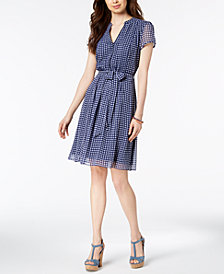 MSK Checkered Belted Dress