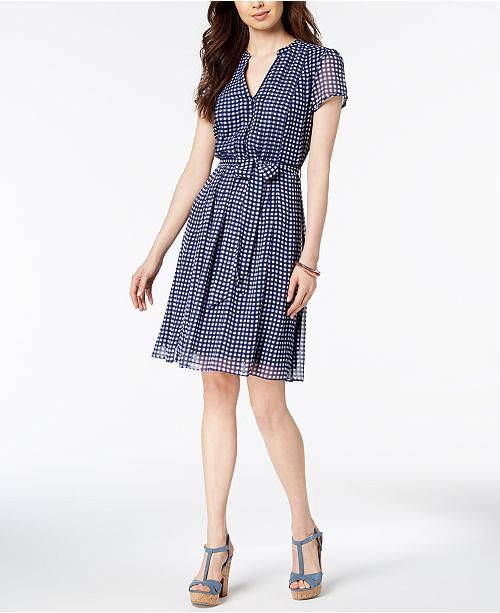 Blue Dress Checkered MSK White Belted zFwzqta