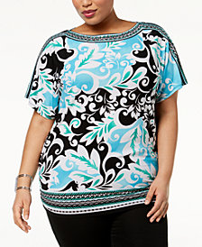 JM Collection Plus Size Embellished Boat-Neck Tunic, Created for Macy's