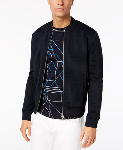 Armani Exchange Men's Textured Jacquard Bomber Jacket