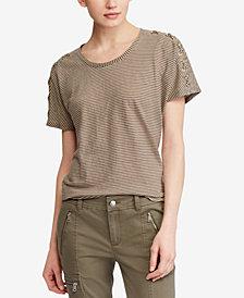 Lauren Ralph Lauren Lace-Up-Sleeve Striped T-Shirt