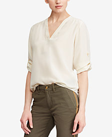 Lauren Ralph Lauren Silk V-Neck Blouse