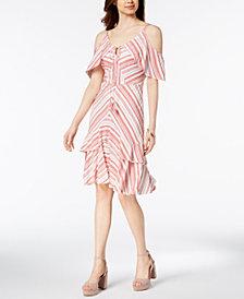 sangria Striped Cold-Shoulder Ruffle Dress