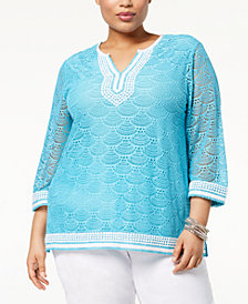 Alfred Dunner Turks & Caicos Plus Size Lace Tunic Top