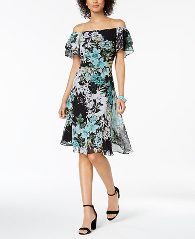 Connected Printed Convertible A-Line Dress