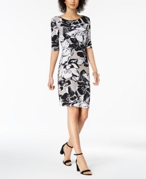Connected Printed Ruched Sheath Dress 6037458