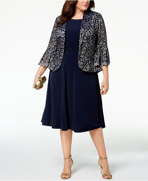 1f6baa685ea Jessica Howard Plus Size Ruched Dress   Lace Jacket   Reviews ...
