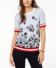 Tommy Hilfiger Mixed-Print Sweater, Created for Macy's
