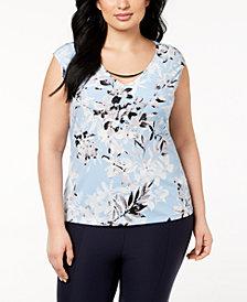Calvin Klein Plus Size Printed Sleeveless Hardware Blouse