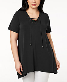 Calvin Klein Plus Size Lace-Up Tunic