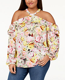 I.N.C. Plus Size Cold-Shoulder Halter Blouse, Created for Macy's