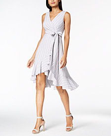 Calvin Klein Cotton Striped Wrap Dress