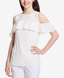 Calvin Klein Cold-Shoulder Flounce Top