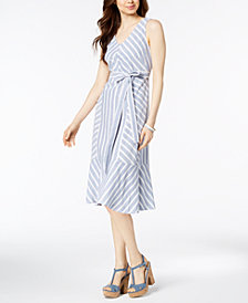MSK Striped Cotton Midi Dress