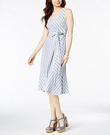 MSK Striped Cotton Midi Dress