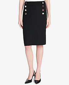 Calvin Klein Jumbo-Button Pencil Skirt