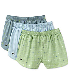 Lacoste Men's 3-Pack. Printed Woven Boxers