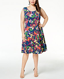 MSK Plus Size Floral-Print Tiered Dress