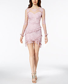 Nanette Lepore Embroidered Mesh Sweetheart Dress