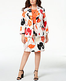 Kasper Plus Size Printed Blazer, Crossover Shell & Pencil Skirt