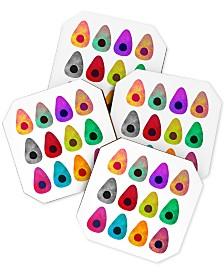 Deny Designs Elisabeth Fredriksson Colored Avocados Coaster Set