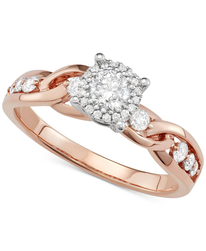 Macy's - Diamond Crossover Halo Engagement Ring (5/8 ct. t.w.) in 14k Rose & White Gold