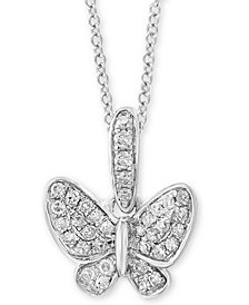 "EFFY Kidz® Children's Diamond Butterfly 14"" Pendant Necklace (1/10 ct. t.w.) in 14k White Gold"