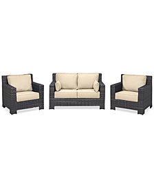 Viewport Outdoor Wicker 3-Pc. Seating Set (1 Loveseat & 2 Club Chairs) with Custom Sunbrella® Colors, Created for Macy's