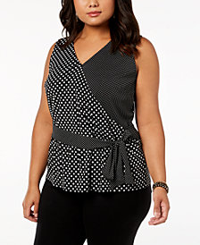 I.N.C. Plus Size Sleeveless Ruffled Top, Created for Macy's