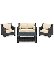 Viewport Outdoor Wicker 4-Pc. Seating Set (1 Loveseat, 2 Club Chairs & 1 Coffee Table) with Custom Sunbrella® Colors, Created for Macy's
