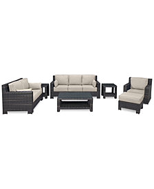 Viewport Outdoor Wicker 7-Pc. Seating Set (1 Sofa, 1 Loveseat, 1 Swivel Glider, 1 Ottoman, 1 Coffee Table & 2 End Tables) with Custom Sunbrella® Colors, Created for Macy's
