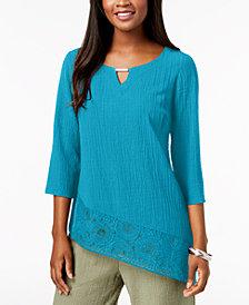 JM Collection Petite Asymmetrical Crinkle Crochet-Hem Top, Created for Macy's