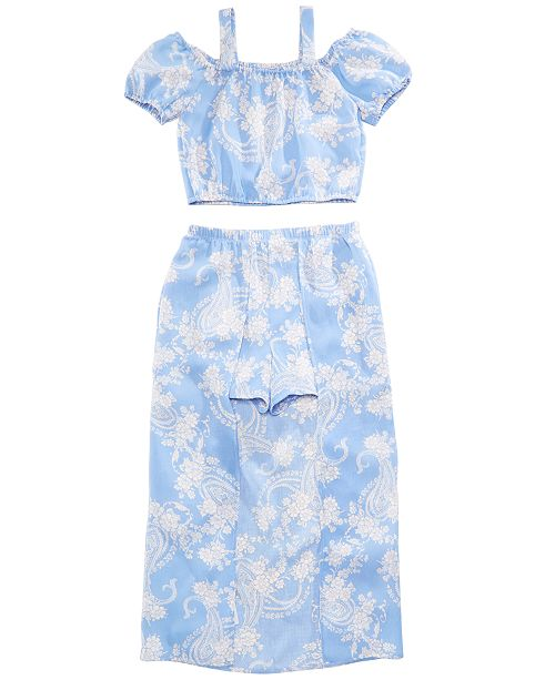 49f85d6db0a ... Crystal Doll 2-Pc. Printed Maxi-Overlay Shorts Dress