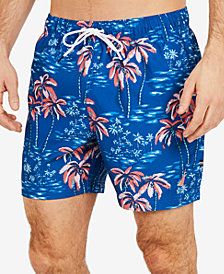 "Nautica Men's Big & Tall Palm Tree Printed  6"" Swim Trunks"