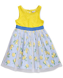Sweet Heart Rose Glitter-Mesh Lemon-Print Crochet Dress, Little Girls