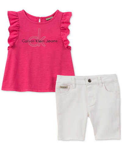 Calvin Klein 2-Pc. Top & Denim Shorts Set, Little Girls