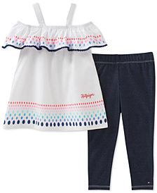 Tommy Hilfiger 2-Pc. Cotton Peasant Tunic & Denim Leggings Set, Toddler Girls