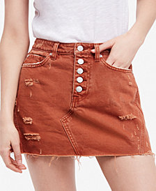 Free People Ripped Button-Fly Denim Skirt