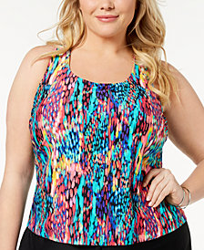GO by Gossip Plus Size Spotlight Racerback Tankini Top, Created for Macy's