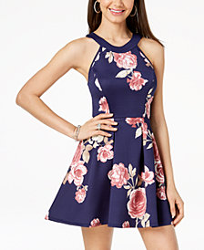 Crystal Doll Juniors' Printed Cutout Fit & Flare Dress