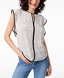 Vince Camuto Printed Flutter-Sleeve Keyhole Top, Created for Macy's