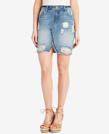 Jessica Simpson Adorn Ripped Denim Skirt