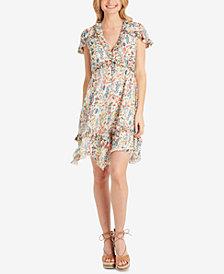 Jessica Simpson Juniors' Floral-Print Ruffle-Trim Dress