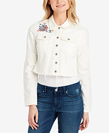 Jessica Simpson Pixie Cotton Cropped Denim Jacket