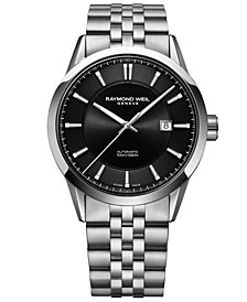 RAYMOND WEIL Men's Swiss Automatic Freelancer Stainless Steel Bracelet Watch 42mm